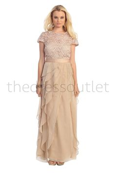 Short Sleeve Plus Size Long Mother of the Bride Formal Evening Gown