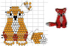 Seed Bead Fox Pattern Pony Bead Crafts, Seed Bead Crafts, Beaded Crafts, Beaded Ornaments, Pony Bead Patterns, Beading Patterns, Bracelet Patterns, Stitch Patterns, Wood Badge
