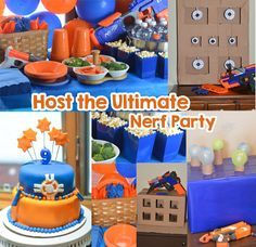 Nerf Party Ideas – Host the Ultimate Nerf Party You'll be on target for hosting the ultimate Nerf birthday party with these fun Nerf party ideas. Find ideas for DIY Nerf games, a cake, decorations, and a snack table. Nerf Party Food, Nerf Party Supplies, Nerf Birthday Party, 10th Birthday, Birthday Ideas, Summer Birthday, Nerf Cake, Cake Decorations, Party Ideas