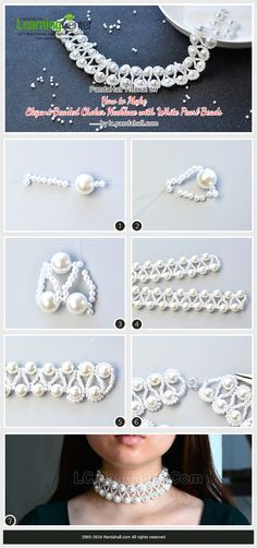 PandaHall Tutorial on How to Make Elegant Beaded Choker Necklace with White Pearl Beads from LC.Pandahall.com