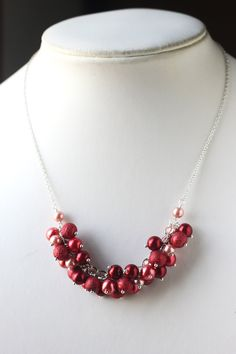 Pearl cluster necklace - three sizes glass pearl beads in three colors, one textured  #handmade #jewelry #beading