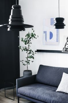 Living space with white walls, blue artwork, black light fixtures, potted plant, black shelf, black coffee table, wood floors, and dark blue couch