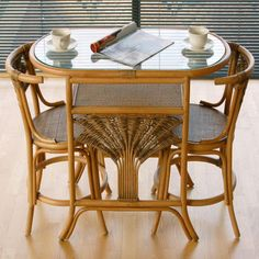 Atlanta Cane Rattan Dining Breakfast Table Chair Set For 2