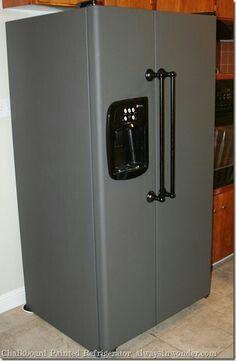 Grey chalkboard painted fridge