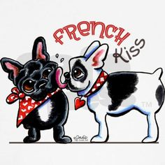 Cute design for Frenchie lovers and Valentine's Day! Black and white French Bulldog gives a black Frenchie a big sloppy kiss in this original ink and pencil illustration by Andie of Off-Leash Art.