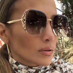 #SUNGLASSES #NEW Luxury Designer Diamond Square Sunglasses Women New Oversized Brand Vintage Sunglass Metal Frame Female Mirror Eyewear…