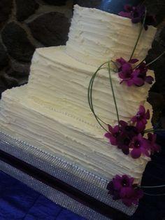 Square Wedding Cake, Buttercream Texture, Fresh Flowers. From CRAVE!  www.facebook.com/craveklamathfalls
