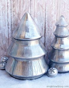 Mercury Glass Christmas Trees at anightowlblog.com | #mercuryglass #christmas Econimical DIY + DollarTree