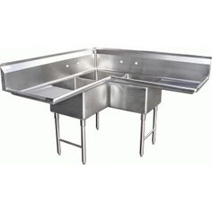 "Quality Commercial Kitchen Equipment - Economy 3 Compartment Deep Stainless Corner Sink w (2) 18"" Drain Board"
