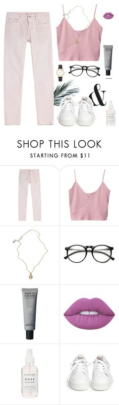 """""""Love & Lust"""" by space-buns ❤ liked on Polyvore featuring Closed, Jessica de Lotz Jewellery, INDIE HAIR, Lime Crime, Ash and Kate Spade"""