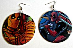 The Original Upcycled Vintage Comic Book Earrings by Customcomix, I like the idea of having two different earrings. and the scenes from comic books