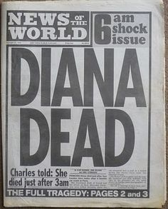 Twenty years ago today, newspapers had just one story on the front page. Special editions were rushed out with the terrible headline that Diana, Princess of Wales, had died. Newspaper Front Pages, Vintage Newspaper, Newspaper Article, Princess Diana Death, Princess Of Wales, Diana Spencer, Lady Diana, Newspaper Headlines, British History