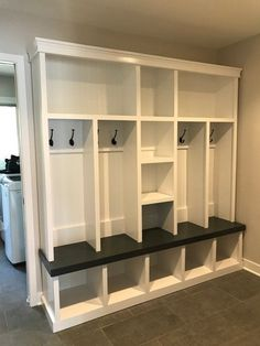 Mudroom Entryway bench/shoe storage/organization/mudroom/hall tree/coat rack/shoe storage/ Entryway bench with storage This Entryway bench is my most liked and most popular Entryway locker with extra storage in middle, it measures 84 tall x depth 18 pa Coat And Shoe Storage, Shoe Storage Bench Entryway, Shoe Storage Cabinet, Bench With Storage, Storage Organization, Extra Storage, Diy Storage, Closet Storage, Storage Ideas
