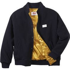 TFP Bomber Jacket ($289) ❤ liked on Polyvore featuring men's fashion, men's clothing, men's outerwear, men's jackets, jackets, men, outerwear, mens gold jacket, mens blouson jacket and mens jackets