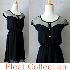 PETIT DEJEUNER in Black -Vintage Inspired Black Lace Illusion Neckline Dress