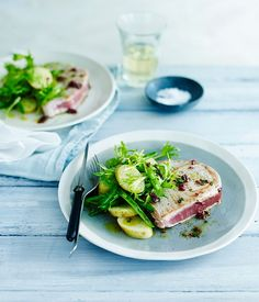 Seared Tuna with Potatoes, Baby Beans, Frisée and Olive Vinaigrette Recipe | Gourmet Traveller
