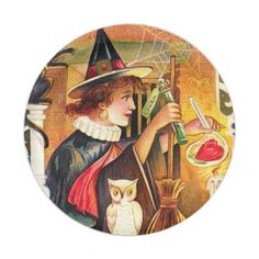 #Vintage Halloween witch party paper plate - #Halloween happy halloween #festival #party #holiday