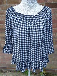 8ccdc1d939a Ladies TU Black and White Gingham Top Size 16  fashion  clothing  shoes