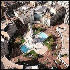 An overview of Monument Circle in Indianapolis. It is here that Sara tries to tell Rocsann Rush, that dirty cops are trying to kill her. Unfortunately for Sara, Rocsann already knows, and she sets Sara up to keep her quiet. This leads to a very tough time for the heroine, Sara.