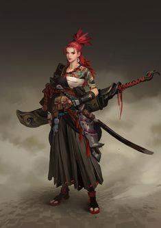 Hou China Samurai Warrior - Your Daily Dose of Amazing beautiful Creativity and Digital Art - Fantasy Characters: Archers Assassins Astronauts Boners Knights Lovers Mythology Nobles Scholars Soldiers Warriors Witches Wizards Final Fantasy Art, Dark Fantasy Art, Fantasy Artwork, Dnd Characters, Fantasy Characters, Female Characters, Female Character Design, Character Concept, Character Art