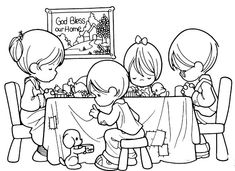 Family praying before eating, coloring pages