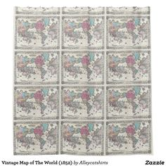 Vintage Map of The World (1852) Shower Curtain