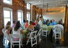 Indoor Wedding Ceremony - Edison Lighting - Lime Green Table Linens RSVP: The RiverRoom Blog