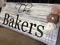 Cream & Brown Family Name Sign  Burlap and Felt by signedwithlove, $35.00