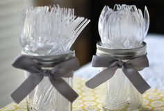 This is simple, easy, inexpensive and is super cute as a silverware holder.