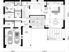 Projekt domu Willa Floryda 4 327,82 m2 - koszt budowy - EXTRADOM Modern Villa Design, Storage Places, House Plans, Floor Plans, How To Plan, House Floor Plans, Floor Plan Drawing, Home Plans
