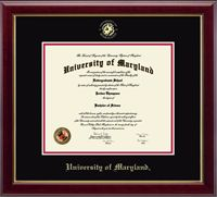 University of Maryland, College Park Diploma Frame - Our Embossed Edition features the school name and official seal gold embossed on black and red museum-quality matting. The Gallery moulding is crafted of solid hardwood with a high-gloss cherry lacquer finish and gold inner lip.  This frame is sized to fit a diplomareceived after 2007.