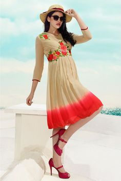 Georgette Party Wear Kurti in Beige and Orange Colour.It is crafted with Embroidery Design...