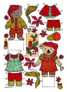 Karens Kravlenisser. Cut-outs and Colouring Pages. : Christmas Bear and Doll Cut-outs in Colours. Jule bamse og dukke klippeark i farver.