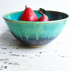 *** Lee Wolfe Pottery — wheel thrown Noodle Bowl 6 cup in  Turquoise and Khaki $36