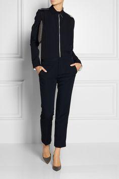 workwear separates - reed krakoff silk chiffon and wool-blend shirt