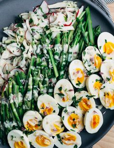 A substantial, spring-inspired fennel, radish, and asparagus salad with creamy buttermilk-lime dressing and steamed hard-boiled eggs. Steamed Hard Boiled Eggs, Steamed Eggs, Poached Eggs, Best Lunch Recipes, Salad Recipes, Healthy Recipes, Asparagus Salad, Fennel Salad, Lime Dressing