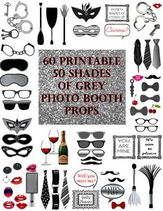 50 Shades of Grey Photo Booth Props Set by DigitalPrintableMe