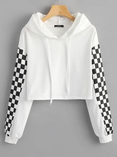 This hooded sweatshirt, with drawstring features a contrast spuare print on the sleeves, in a cropped length with raw edge of hem, it is so comforable that you will love it and wear it day-to-night. Pair it with a shorts and white sneaker for a chic casua Hooded Sweatshirts, Hoodies, White Hoodie, Retro Dress, Fashion Outfits, How To Wear, Clothes, Tops, Lovers