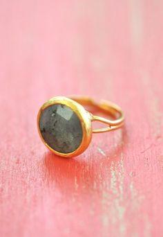 Garden Moss Labradorite Ring, $24