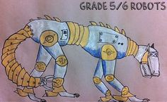 grade 6: We did a discussion about features of robots - what is typical to see, how to draw a curved line (with little attached pieces that gradually curve.) Students were allowed to go in whatever direction they wanted.  To paint them, they used silver tempera paint. Following that, they used white and blue paint to shade the robots.  Once they had dried for a bit, students outlined them and added final details. They shaded the exterior portion using grey pencil crayons.