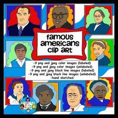 Famous American Clip Art: Eleanor Roosevelt, Thurgood Marshall, Paul Revere, Frederick Douglass, Franklin D. Roosevelt, Mary McLeod Bethune, Susan B. Anthony, Lyndon B. Johnson, Cesar Chavez $3 Bargain!