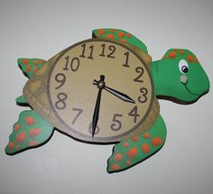 Sea Turtle Ocean Creatures Wooden WALL CLOCK for by ToadAndLily, $45.00