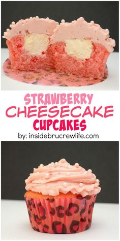 These easy strawberry cupcakes have a hidden no bake cheesecake filling and are topped with a strawberry frosting.