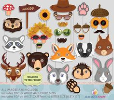 Woodland Animals Fall Autumn Photo Booth Props for Fall Autumn