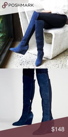 FREE PEOPLE Salina Over the Knee BOOTS OTK Blue 8 BRAND NEW in Box!! Classic and sleek over-the-knee tall boots in a delicious and luxe suede. Inside zip and elastic stretch in back for an easy on/off. Features a wedge heel. Color: Blue. Retail: $288.00.   Care/Import. One of FP's all-time top rated boots. 5🌟-Rated, Customer Favorite. Completely sold-out.   Measurements * Heel: 3.75 in * Shaft: 18.0 in Free People Shoes Over the Knee Boots