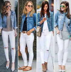 Love skinny white jeans and denim shirts! Love skinny white jeans and denim shirts! Jean Jacket Outfits, Outfit Jeans, White Jeans Outfit Summer, How To Wear White Jeans, Denim Shirt Outfits, Blue Jean Outfits, Jacket Jeans, Mode Outfits, Casual Outfits