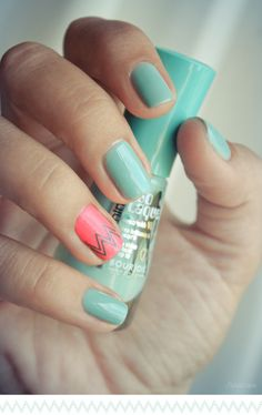 Turquoise Nails with Coral Chevron Accent Nail