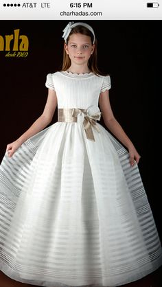 First Communion Dress with Satin and Organza Flower Accents from ...