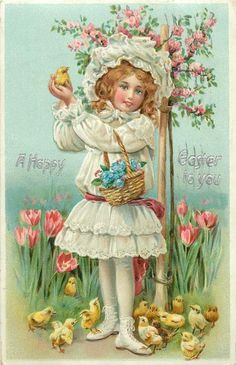 Shop Happy Easter Girl Vintage Holiday Postcard created by easterfun.