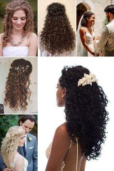 Penteados para casamento em cabelo cacheado e crespo Curly Bridal Hair, Curly Hair Updo, Curled Hairstyles, Bride Hairstyles, Natural Curls, Natural Hair Styles, Short Hair Styles, Wedding Hair And Makeup, Hair Makeup